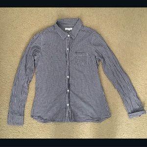 Delias Checkered Purple/White Button Down Top